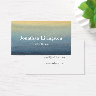 Professional Business Blue-Yellow Watercolor Business Card Template