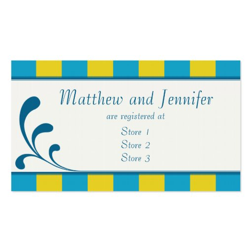 Blue & Yellow Wedding Gift Registry Cards Business Card