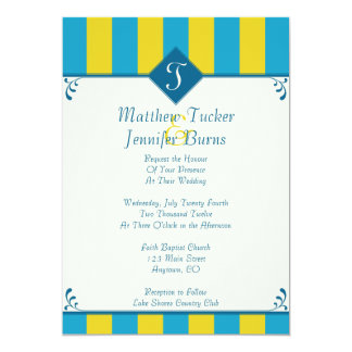 "Blue &  Yellow Wedding Invitations with Monogram 5"" X 7"" Invitation Card"