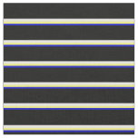 [ Thumbnail: Blue, Yellow, White, and Black Striped Pattern Fabric ]