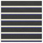 [ Thumbnail: Blue, Yellow, White, and Black Striped Pattern Fabric ]