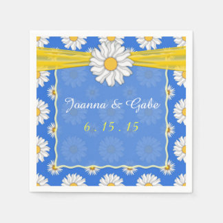 Blue Yellow White Daisy Floral Wedding Napkins