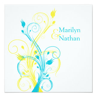 Yellow And Turquoise Wedding Invitations Amp Announcements