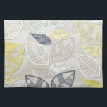 """blue yellow white leaves in rows on gray cloth placemat<br><div class=""""desc""""></div>"""