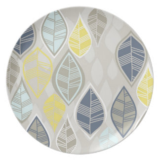 blue yellow white leaves on gray plate