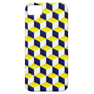 Blue, Yellow, White Shaded 3D Look Cubes iPhone SE/5/5s Case