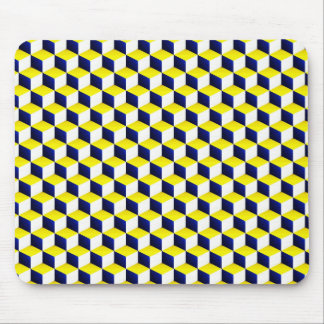 Blue, Yellow, White Shaded 3D Look Cubes Mouse Pad