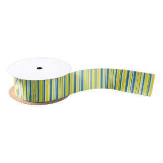 Blue Yellow White Stripes Satin Ribbon