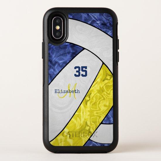 blue yellow white team spirit girls' volleyball OtterBox symmetry iPhone x case