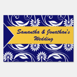 Blue yellow white wedding engagement sign