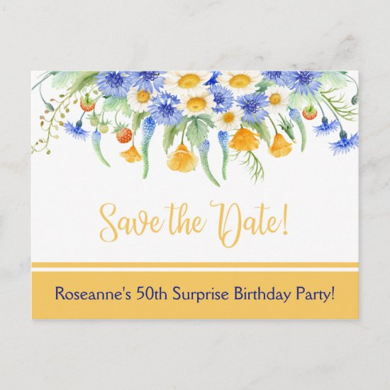 Blue Yellow White Wildflowers Save The Date Announcement Postcard