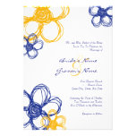 Blue & Yellow Wild Flowers 5x7 Wedding Invitation