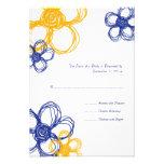 Blue & Yellow  Wild Flowers Wedding RSVP Personalized Invites