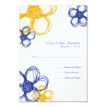 Blue & Yellow  Wild Flowers Wedding RSVP 3.5x5 Paper Invitation Card