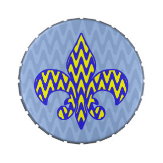 Blue & Yellow Zigzag Fleur de lis Jelly Belly Candy Tins