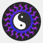 Blue Yin Yang Balanced Sun Classic Round Sticker