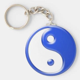 Blue Yin Yang Basic Round Button Keychain