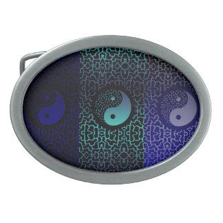 Blue Yin Yang Oval Belt Buckle
