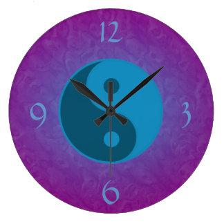 Blue Yin Yang Spiritual Large Clock