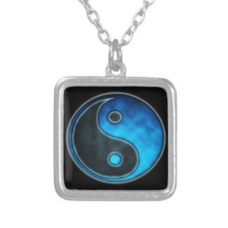 Blue Yin Yang Symbol Square Pendant Necklace
