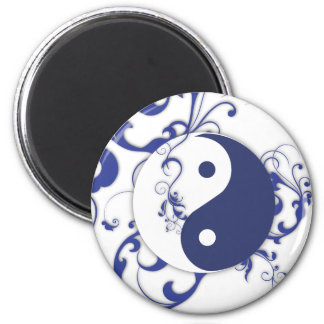 Blue Yin yang with flourish Magnets