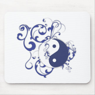 Blue Yin yang with flourish Mouse Pad
