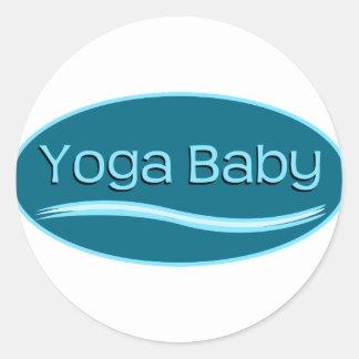 Blue Yoga Baby Classic Round Sticker