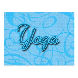 Blue Yoga Flourish Design Postcard