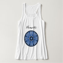 Blue Yoga Namaste Typography Mandala Lotus Custom Tank Top