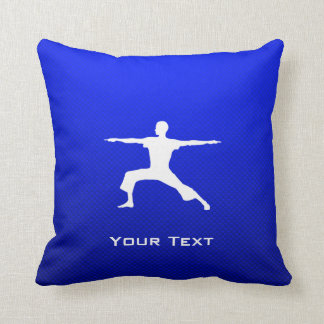Blue Yoga Throw Pillow