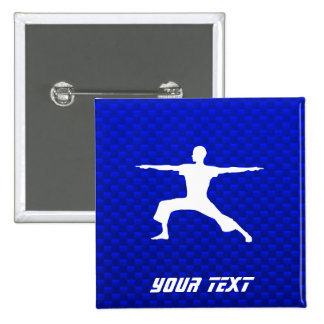 Blue Yoga Pinback Button