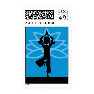 Blue Yoga Silhouette Postage