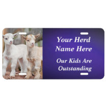 BLUE YOUR GOAT PHOTO and HERD NAME License Plate