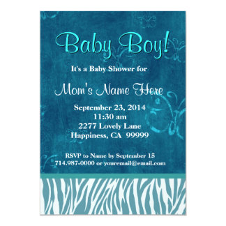 Blue Zebra  and Butterflies Boy Baby Shower 5x7 Paper Invitation Card