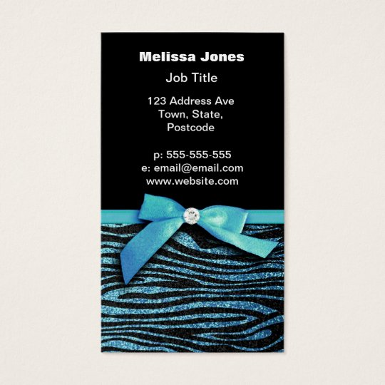 Blue Zebra and ribbon bow graphic Business Card