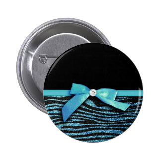 Blue Zebra and ribbon bow graphic Button