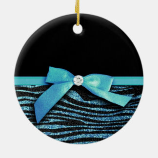 Blue Zebra and ribbon bow graphic Ceramic Ornament