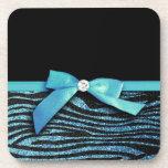 Blue Zebra and ribbon bow graphic Coaster