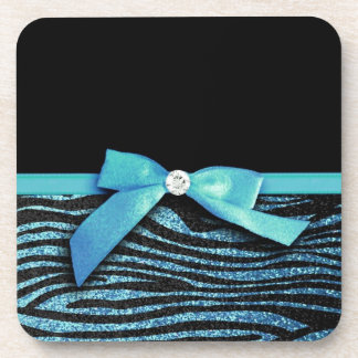 Blue Zebra and ribbon bow graphic Drink Coaster
