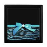 Blue Zebra and ribbon bow graphic Jewelry Box