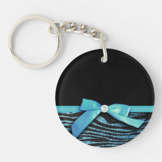 Blue Zebra and ribbon bow graphic Keychain
