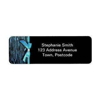 Blue Zebra and ribbon bow graphic Return Address Label