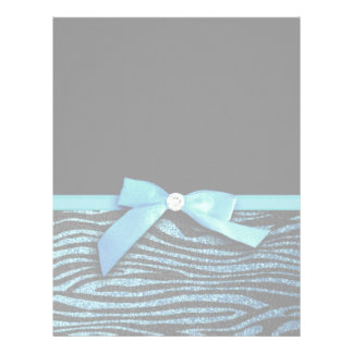 Blue Zebra and ribbon bow graphic Letterhead