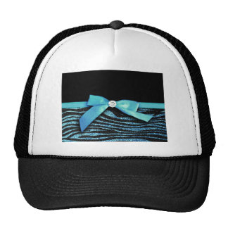 Blue Zebra and ribbon bow graphic Mesh Hats