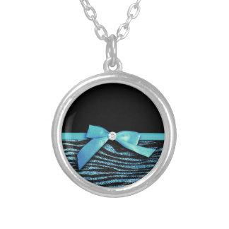 Blue Zebra and ribbon bow graphic Pendant
