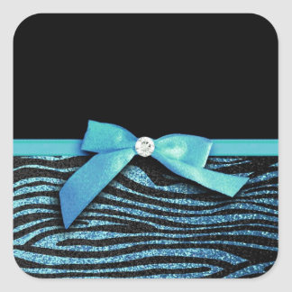 Blue Zebra and ribbon bow graphic Stickers
