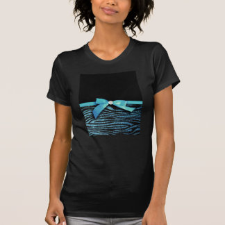 Blue Zebra and ribbon bow graphic T-shirt