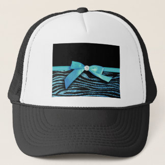 Blue Zebra and ribbon bow graphic Trucker Hat