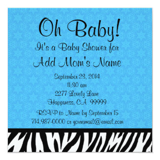 Blue Zebra and Stars Boy Baby Shower B601 Card