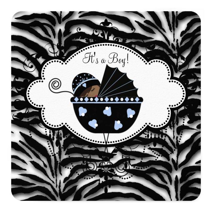 Blue Zebra Baby Boy Shower Card   Zazzle